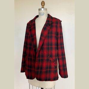 NWT LF Red & Black Plaid Harness Chain Blazer